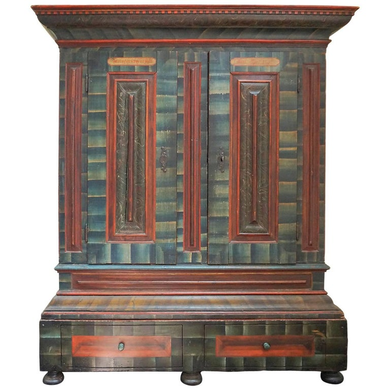 Monumental Schwarzwald Painted Armoire