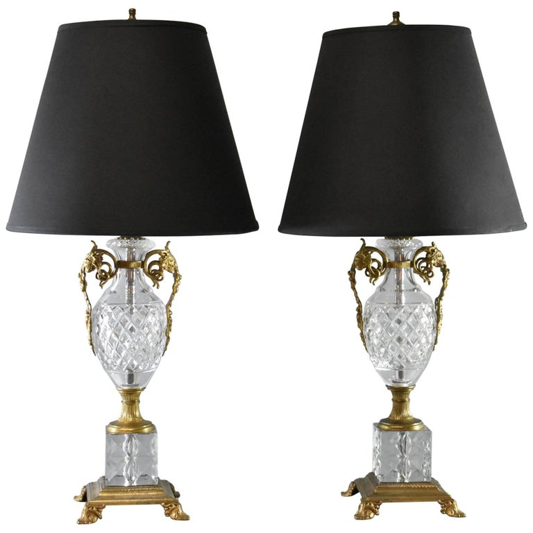 Pair of Cut Glass Crystal and Brass Table Lamps with Grape Leaf Detail