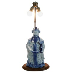 Vintage Blue and White Ceramic Chinese Figural Lamp