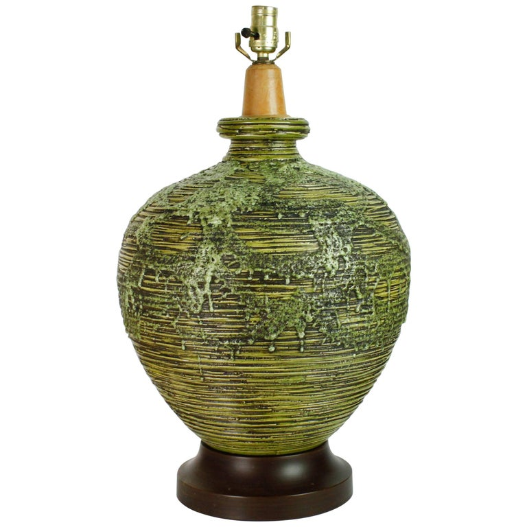 Large Mid-Century Modern Green Lava-Glazed Table Lamp