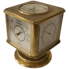 Swiss Art Deco Brass Angelus Meteo Desk Clock Weather Station
