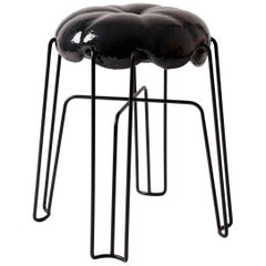 Marshmallow Stool by Paul Ketz in Fetish Black Polyurethane Foam and Steel