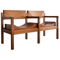 "Two-Seat ""Tree Trunk Bench"" in Solid, Shaped Rosewood"