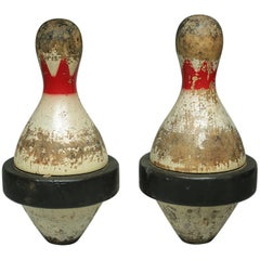 Early 20th Century Rubberband Duckpins, circa 1900-1940s, Pair