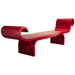 """Marquesa"" Bench in Red with Cane Seat and Bent Wood Detailing at Each End"