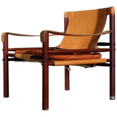 Arne Norell Leather Safari Chair Model Sirocco, 1960s