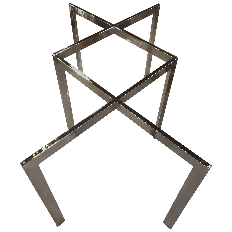 Milo Baughman for Thayer Coggin Chrome Dining Table Criss Cross X Vintage