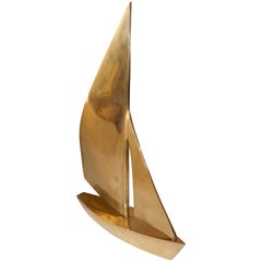 Midcentury Solid Brass Sailboat