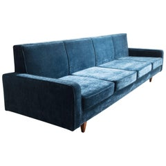 Sofa with Wood Frame and Blue Upholstery
