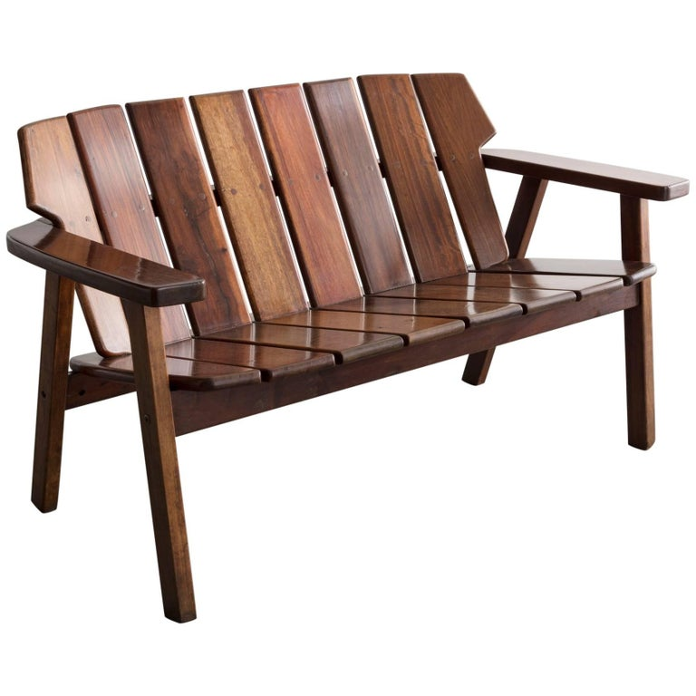 Slatted Rosewood Bench