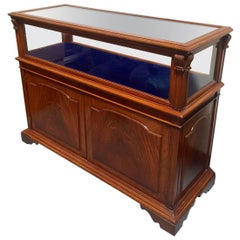 Georgian Style Mahogany and Glass Rectangular Showcase with Cabinet Below