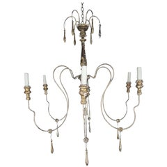 Italian Giltwood Six-Light Chandelier