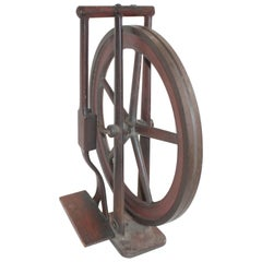 Industrial Iron Wheel 19th Century Original Painted