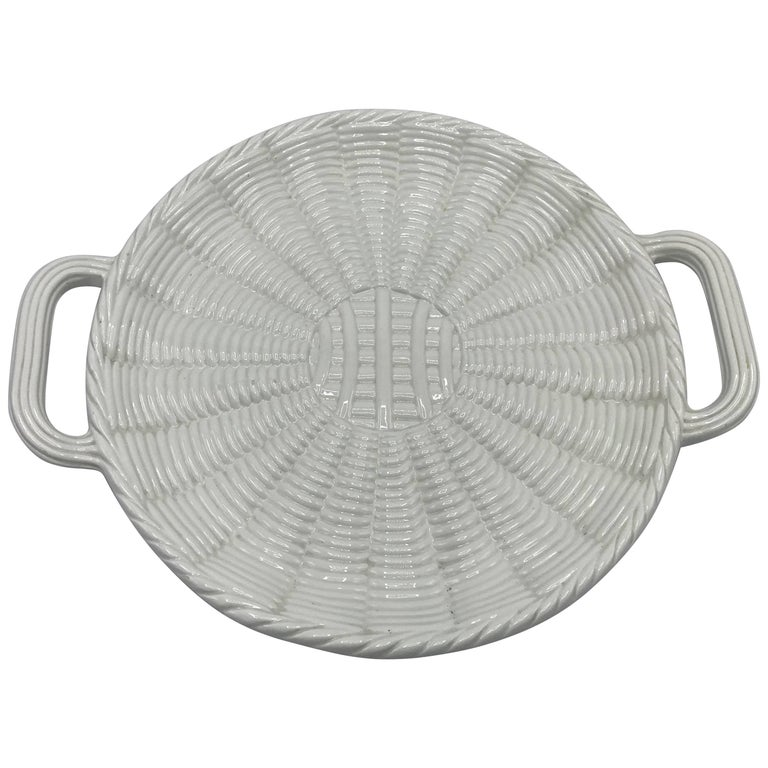 1960s Italian Saks Fifth Avenue White Ceramic Basket Weave Serving Tray Charger