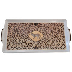 Handcrafted Chase Leopard Letter Tray or catch all 1990s