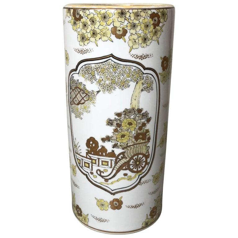 Yellow Umbrella Stand: Outstanding Vintage Korean Terracotta Kimchi Storage Jar