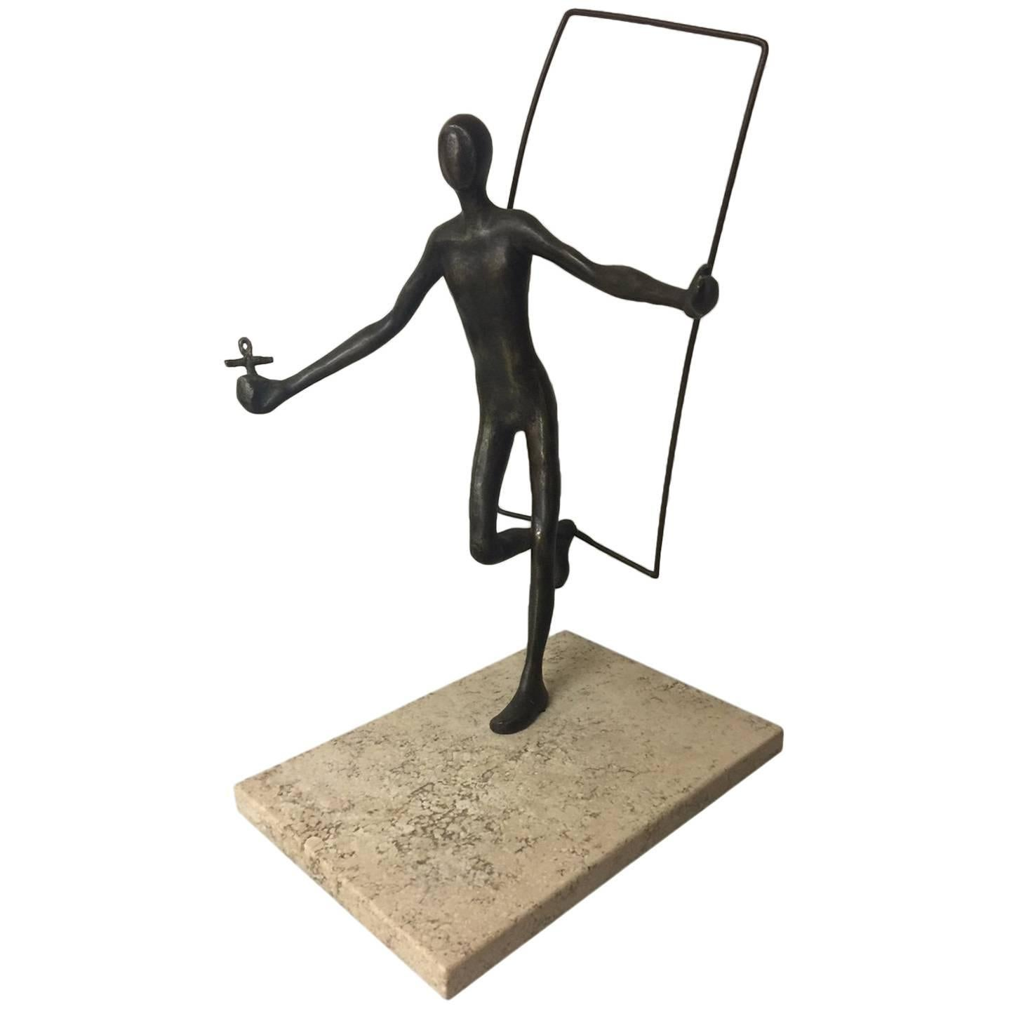 Signed Artist Proof Figurative Bronze on Travertine Base by Victor Salmones