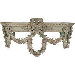 19th Century French Carved Bed Canopy with Garlands of Flowers