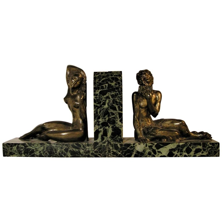 French Art Deco Figural Bookends with Marble and Greek Mythological Figures