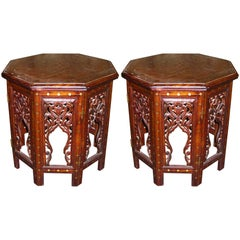 Pair of Inlaid Hand-Carved Anglo-Indian Side or End Tables with Brass and Copper