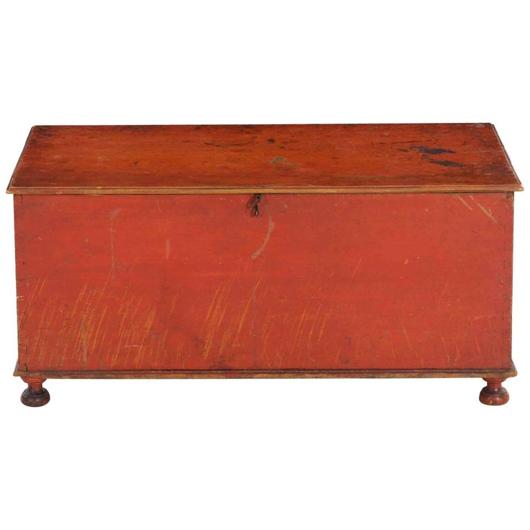 American Red-Painted Miniature Blanket Chest on Bottleneck Feet, circa 1820-1840