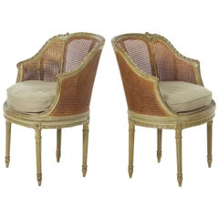19th Century Pair of French Louis XVI Style Antique Roundback Armchairs