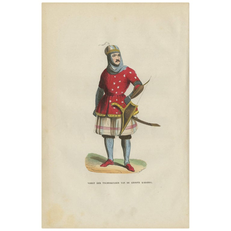 Antique Print of a Royal of the Circassians by H. Berghaus, 1855