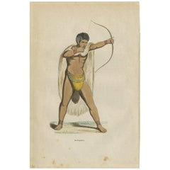 Antique Print of a Khoikhoi or Hottentot from Africa by H. Berghaus, 1855