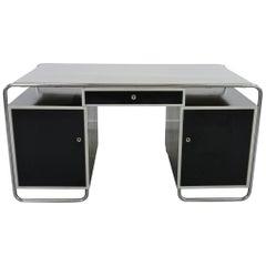 Midcentury Bauhaus Desk Tubular Steel Frame Industrial