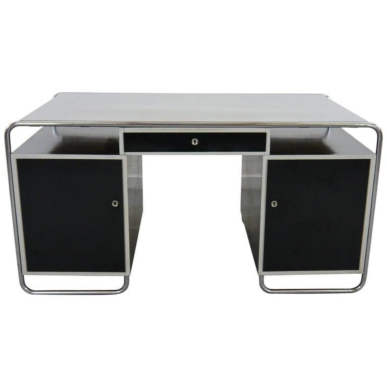 Midcentury Bauhaus Desk Tubular Steel Frame Industrial For Sale