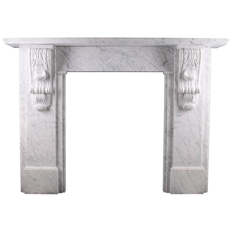 Grand Victorian Carved Corbel Fireplace in Italian Carrara Marble