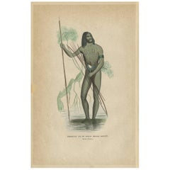 Antique Print of a Native from the Princess Marianne Strait by H. Berghaus, 1855