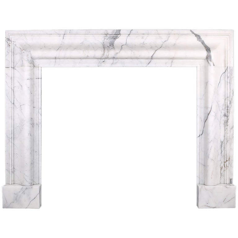 Grand Queen Anne Style Bolection Fireplace in Italian Statuary Marble