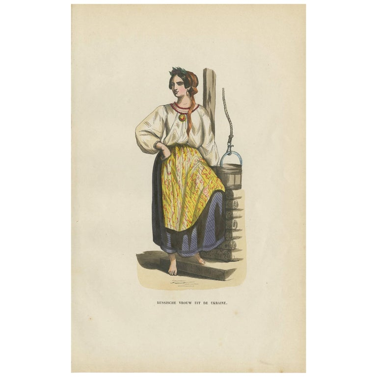 Antique Print of a Russian Woman from the Ukraine H. Berghaus, 1855