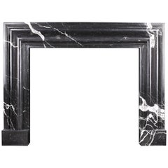 Grand Queen Anne Style Bolection Fireplace in Italian Nero Marquina Marble