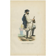 Antique Print of a Farmer from the Region of Moscow 'Russia' H. Berghaus, 1855
