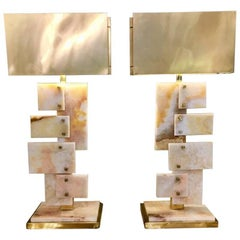 Pair of Italian Alabaster Table Lamps, Rectangular Brass Lampshades, 1970s