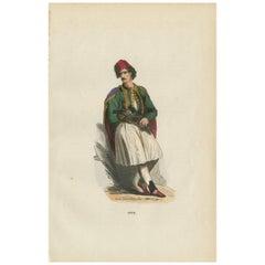 Antique Print of a Greek Man 'Greece' by H. Berghaus, 1855