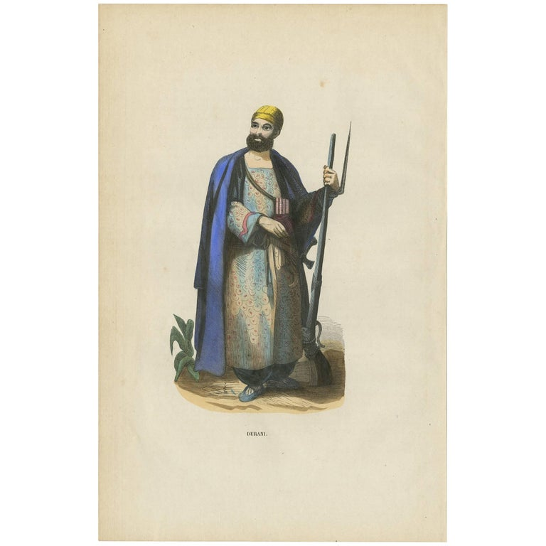 Antique Print of a Durrani 'Afghanistan' by H. Berghaus, 1855