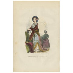 Antique Print of a Turkish Nobility 'Female' by H. Berghaus, 1855