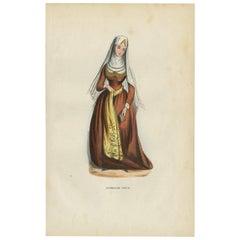 Antique Print of a Georgian Woman by H. Berghaus, 1855