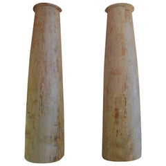 Pair of 19th Century American Colonial Wood Front Porch Columns