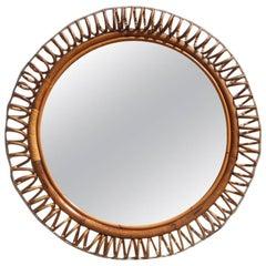 Rattan Mirror Italian Design Very Cool Form 1950s