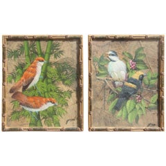 Paintings of Birds on Leaves 1970s Art Decoration
