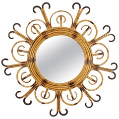 Unusual French Riviera 1950s Bamboo and Rattan Flower Burst Sunburst Mirror