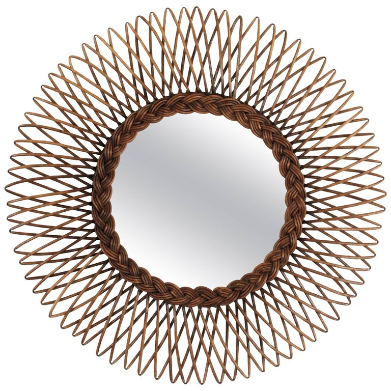 1960s French Riviera Wicker Cane Sunburst Mirror
