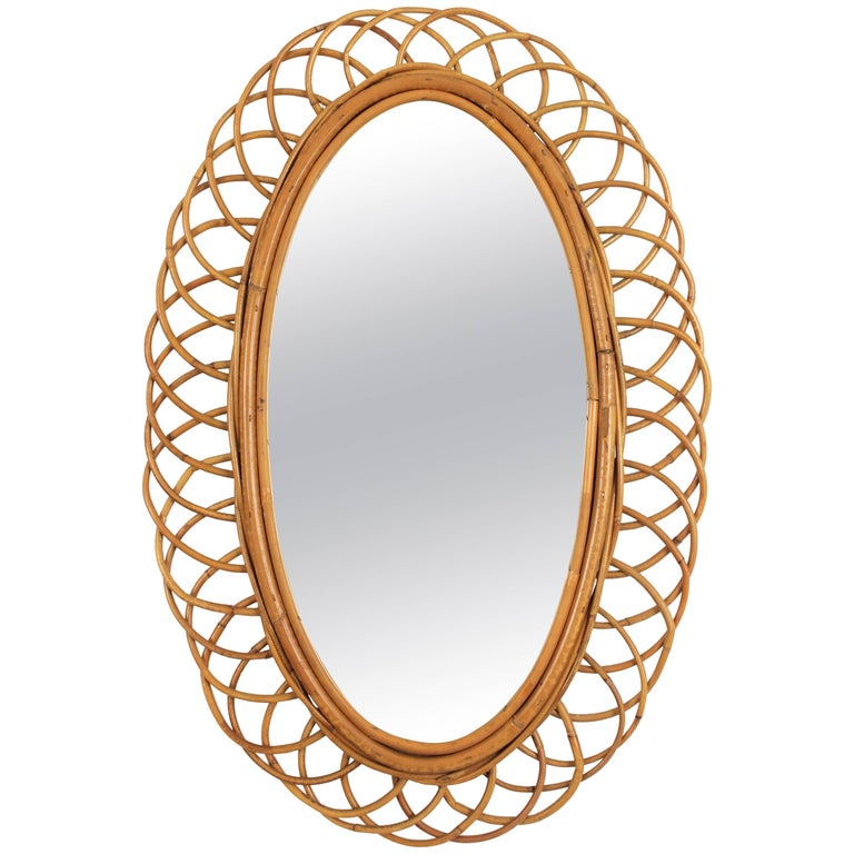 Rattan Cane and Bamboo Flower Burst Oval Mirror, Spain, 1960s