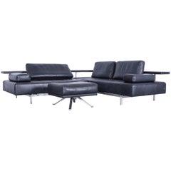 Rolf Benz Dono Designer Corner Sofa Set Footstool Dark Blue Leather Couch Modern