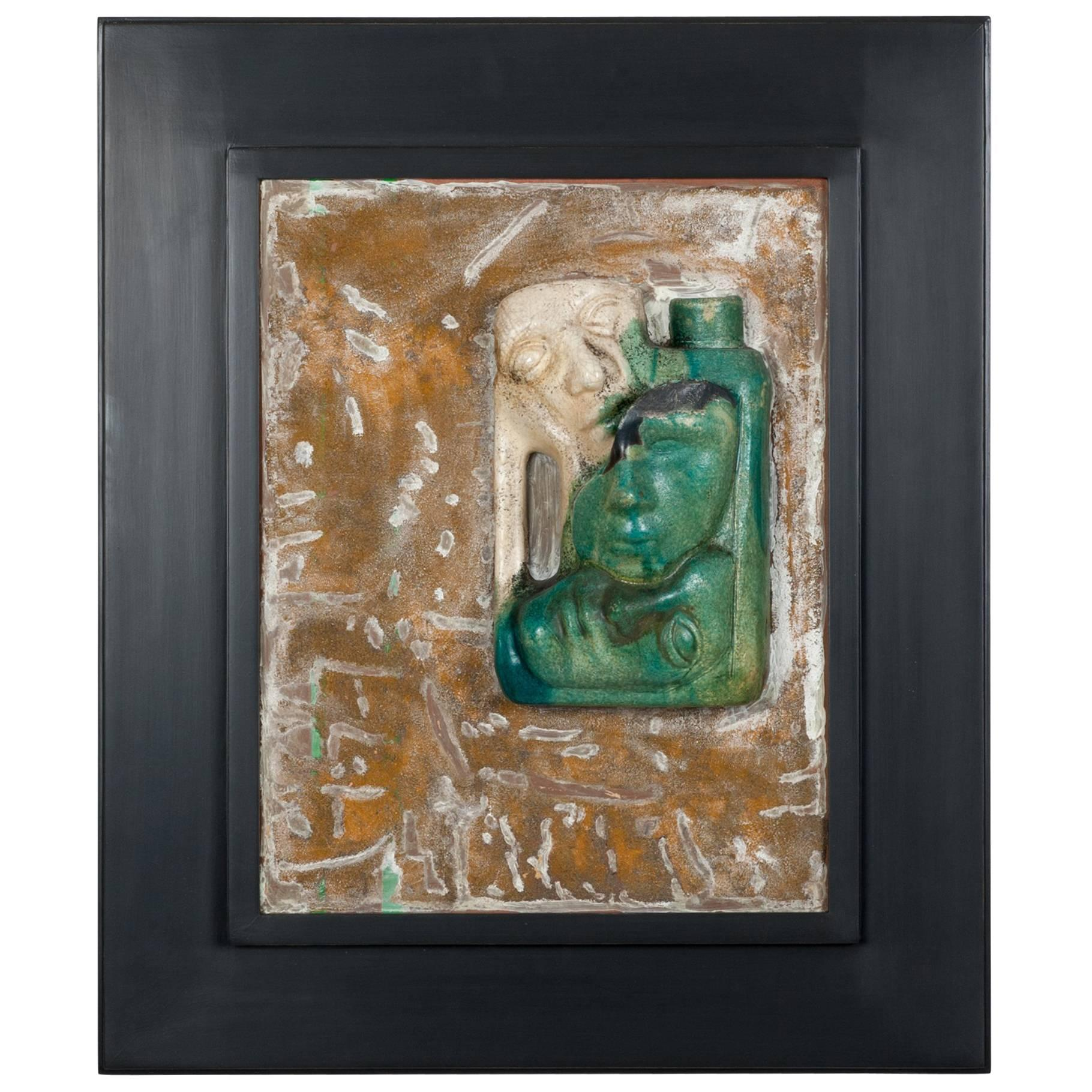 Mid-Century Italian Wall-Mounted Ceramic Sculpture Composition, Monogrammed