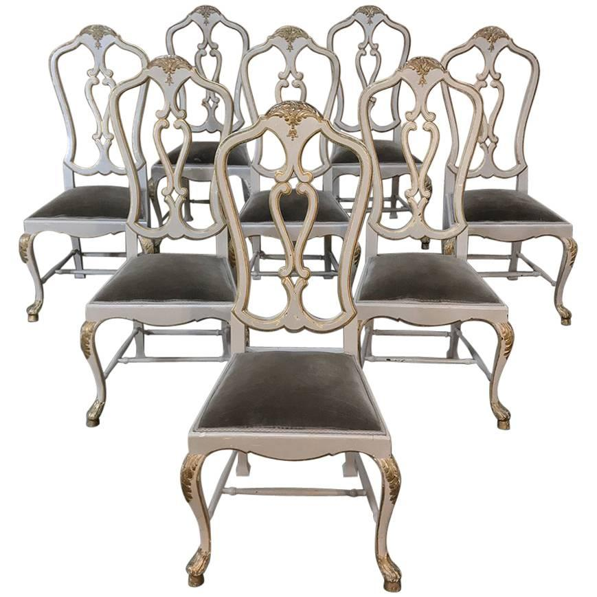 Set of Eight 19th Century Grey Painted and Gilded Italian Dining Chairs